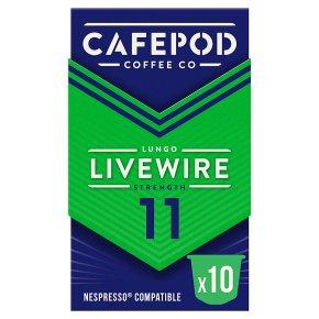 Cafépod Livewire Lungo 10 Capsules Strength 11