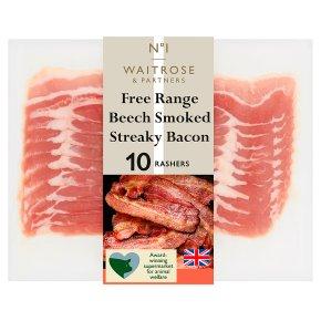 Waitrose 1 free range air dried beech smoked streaky bacon