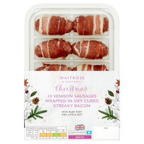 Venison Sausages Wrapped in Dry Cured Streaky Bacon