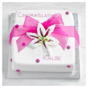 Pink Lily Celebration Cake - Sponge