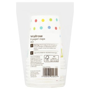 Waitrose Home Happy Birthday paper cups, pack of 8
