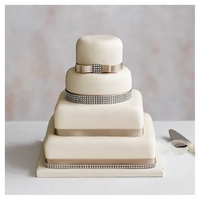 Diamante 4 Tier Ivory Wedding Cake, Golden Sponge (all tiers)
