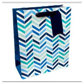 Waitrose Blue Chevrons Medium Bag