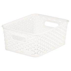 My Style Plastic Off White Rattan Basket