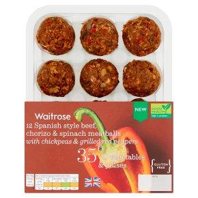 Waitrose 12 Spanish Beef, Chorizo Meatballs