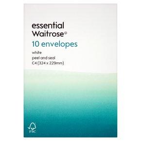 essential Waitrose 324x229mm C4 white envelopes, pack of 10