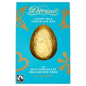 Divine Fairtrade Luxury Milk Chocolate Egg with Milk Chocolate Praline Mini Eggs 260g