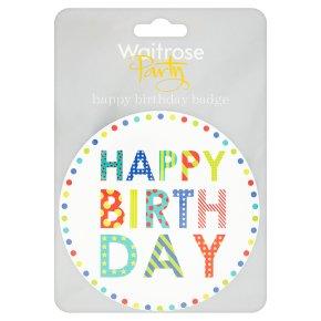 Waitrose Party happy birthday badge