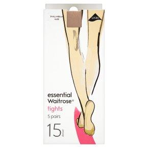 essential Waitrose 15 denier natural tights, pack of 5 (small - medium)
