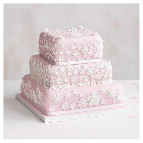 Blossom 3 Tier Pastel Pink Wedding Cake, Fruit (Base tier) & Golden Sponge (top 2 tiers)