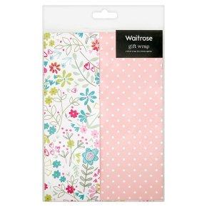 Waitrose Gift Wrap Floral/Spots