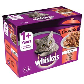 WHISKAS 1+ Cat Pouches Casserole Meaty Selection in Jelly 12 x 85g