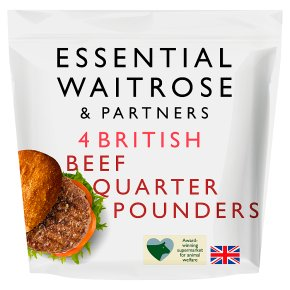 essential Waitrose 4 quarter pounders 100% British beef