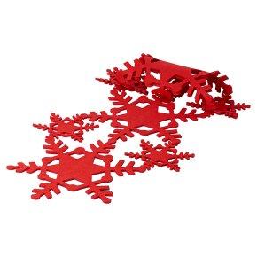 Waitose Home Red Felt Snowflake Table Runner
