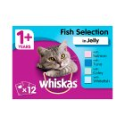 WHISKAS 1+ Cat Pouches Fish Selection in Jelly 12 x 100g - 12x100g