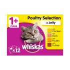 WHISKAS 1+ Cat Pouches Poultry Selection in Jelly 12 x 100g Pack - 12x100g