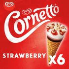 Cornetto strawberry 6 pack ice cream cone - 6s